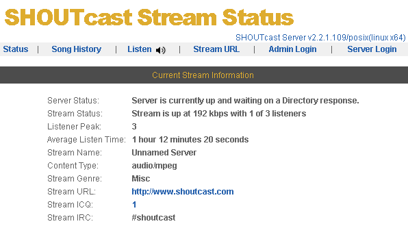 shoutcast stream status